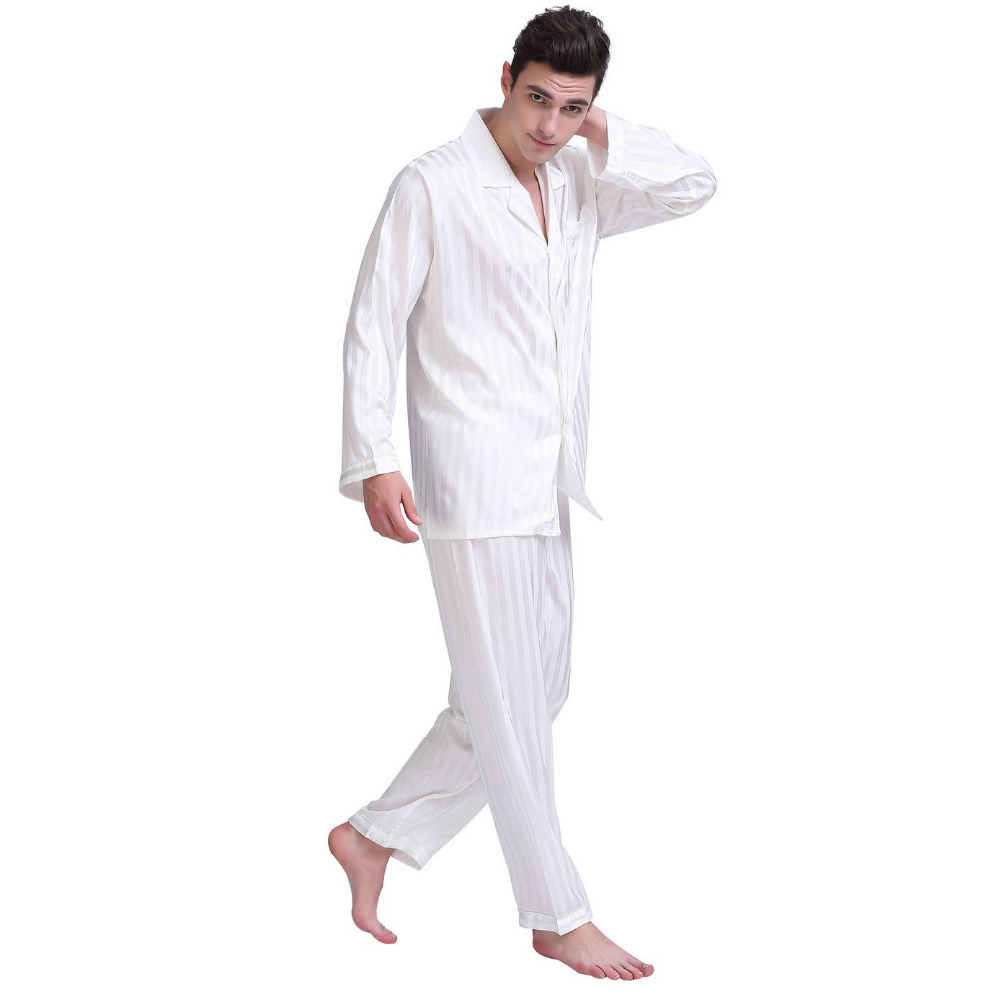 Image 5 - Mens Silk Satin Pajamas Set  Pajama Pyjamas  Set  Sleepwear Set  Loungewear S,M,L,XL,2XL,3XL,4XL  Plus  Striped Black-in Men's Pajama Sets from Underwear & Sleepwears on AliExpress
