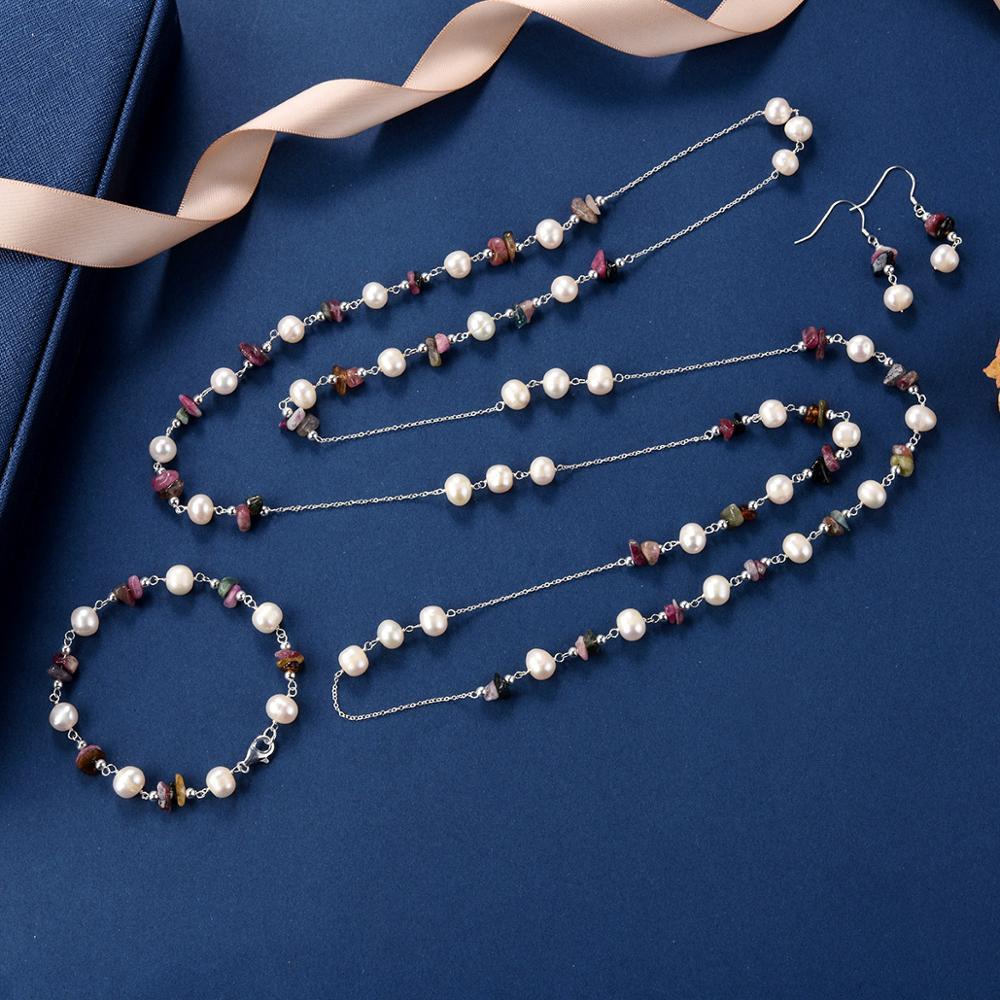 CKKU bijoux collier de perles d'eau douce avec pendentif en pierre verte en forme de goutte et boucles d'oreilles pendantes ensemble de bijoux PD425 - 2