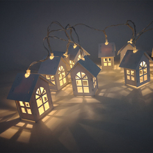 1.5M 10LEDS Wooden House Light String Heart stars elk Christmas tree engraving navidad New Year christmas decorations for home