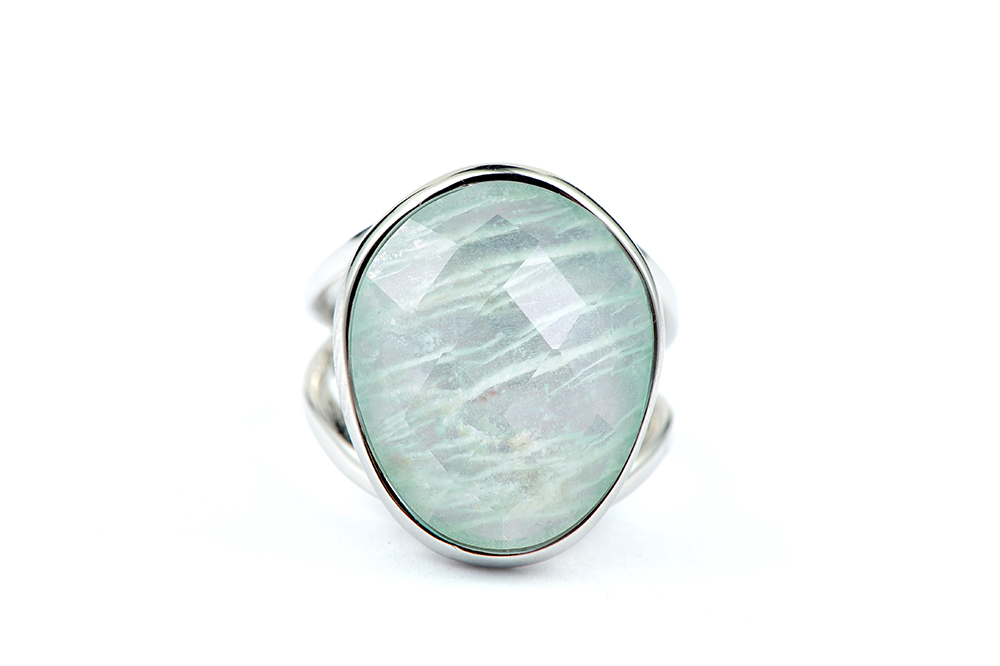 Image 2 - DORMITH real 925 sterling silver gemstone rings natural amazonite rings for women Jewelry rings size can be rejustablering forrings for womenring ring -