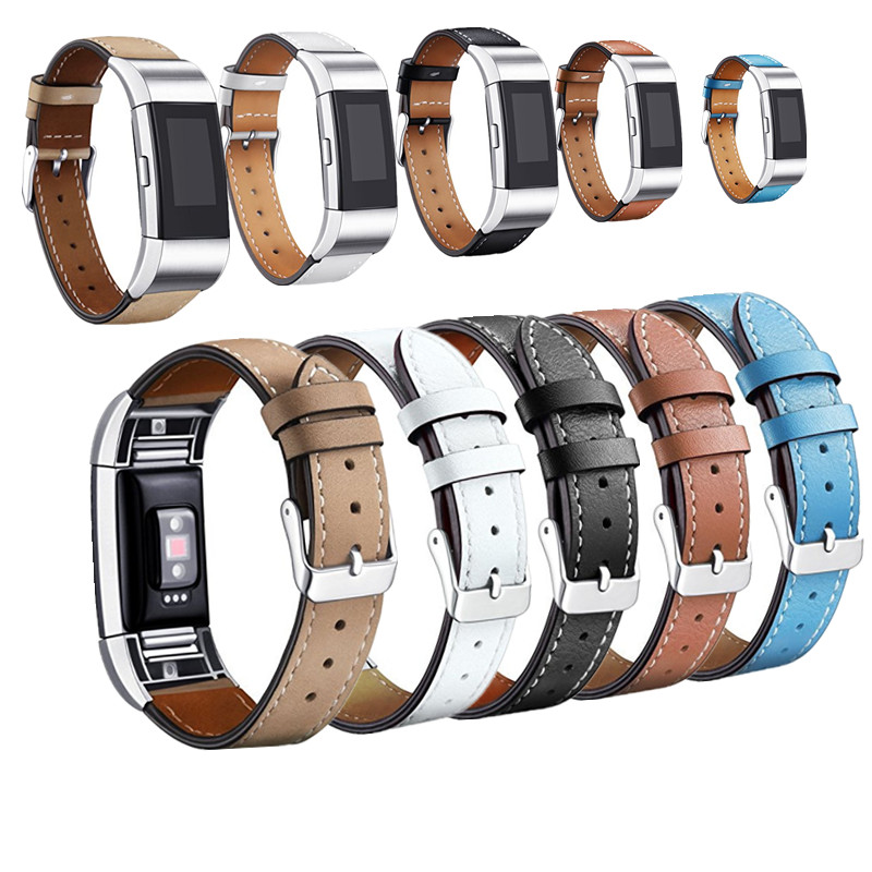 Charm Leather Wrist Strap For Fitbit Charge 2 Leather Wristband With Metal Connector For Charge 2 Watch Band Smart Fitness Watch crested stainless steel watch band for fitbit charge 2 bracelet smart watch strap for fitbit charge2 with connector