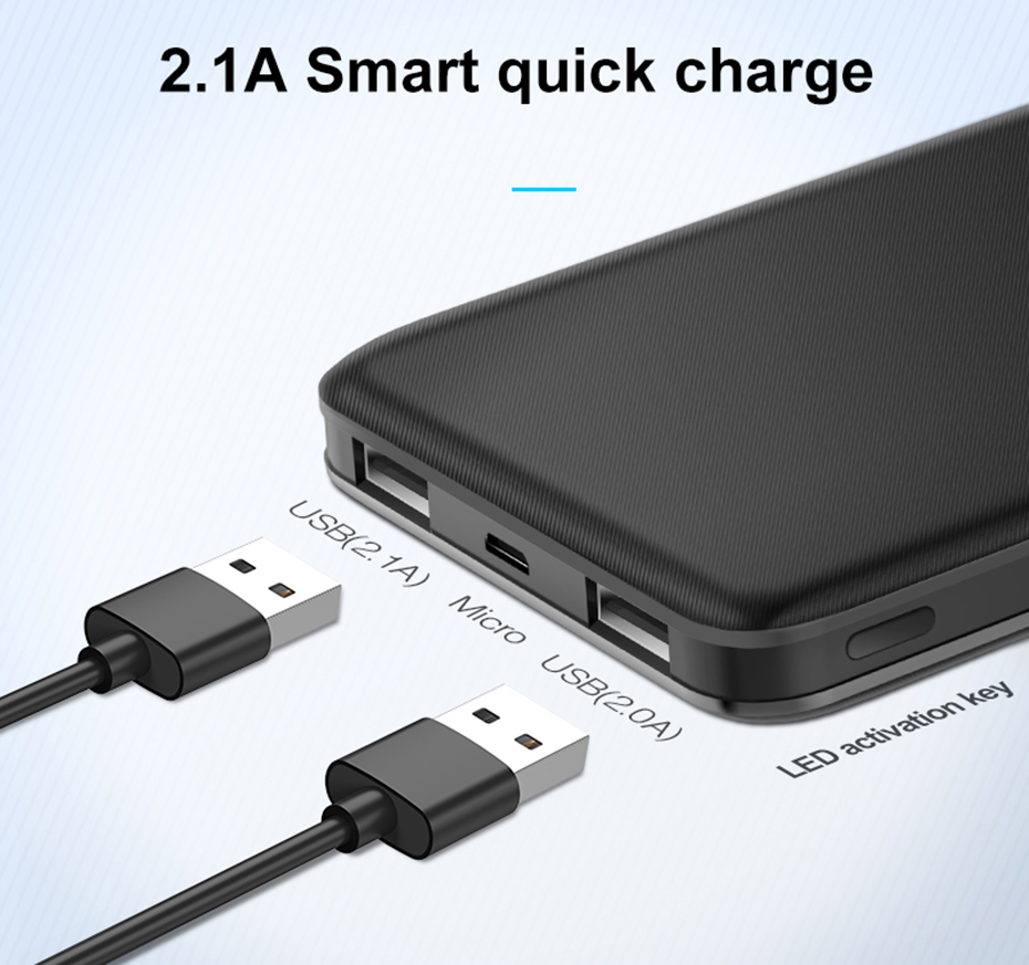 Hoco 10000mah Dual Usb Power Bank External Batteries Portable Charger Bolt 21a Fast Charge 3in1 Cable J26 5