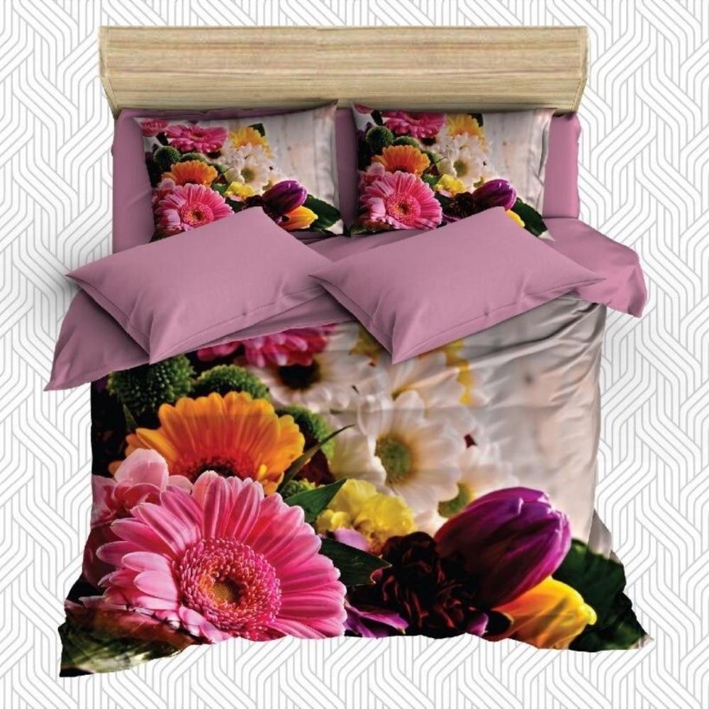 Autre 6 pièces rose jaune violet fleurs tulipes Floral impression 3D coton Satin Double housse de couette literie ensemble taie d'oreiller drap de lit