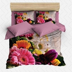 Innego 6 sztuka różowy żółty fioletowy kwiaty kwiatowy tulipany 3D druku bawełna satynowa podwójna poszewka na kołdrę zestaw poszewka na poduszkę łóżko arkusz w Kołdra od Dom i ogród na