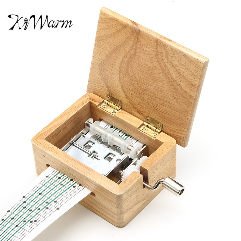 KiWarm Fashion DIY Hand Crank Music Box Wooden Box With Hole Puncher And Paper Tapes Musical Instrument Toy Gifts For Friends