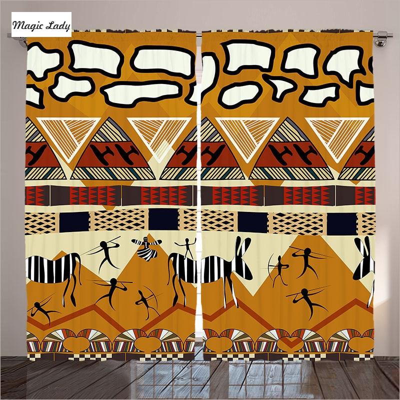 € 85.05 |Rideaux Rideaux Salon Chambre Abstrait Ornements Ethniques Style  Africain Tribal Jaune Vert Art 2 Panneaux Ensemble 145*265 sm dans Rideaux  ...