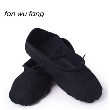 fan wu fang 2017 New Canvas Soft Ballet Dance Shoes Dancing Yoga Gym Slippers Kids Children Cow Leather Outsoles