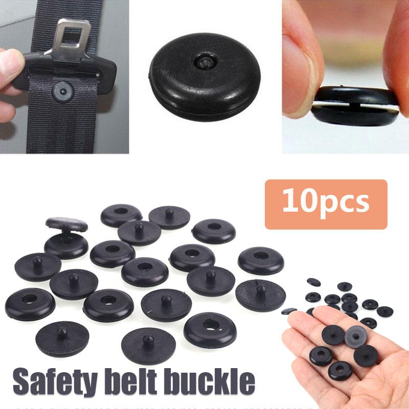 10pcs Spacing Limit Buckle Plastic Holder Protable Seatbelt Stop Button A Set Seat Belt Seat Belt Stopper Fastener Black