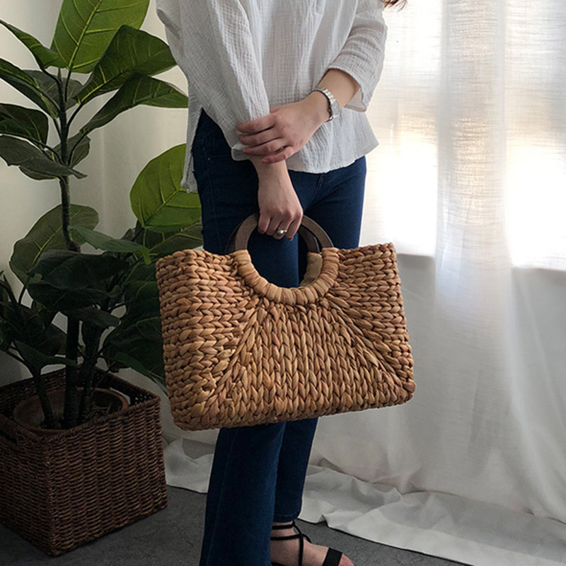 Women Vintage Rattan Handbag Female Bohemian Summer Beach Straw Bags Lady Simple Weave Bag Handmade Casual Large Tote SS3032 (4)