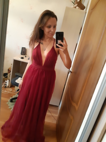 Burgundy Plunging Neck Crisscross Back Cami Dress Maxi Plain Sexy Night Out Dress Autumn Modern Lady Women Party Dresses photo review