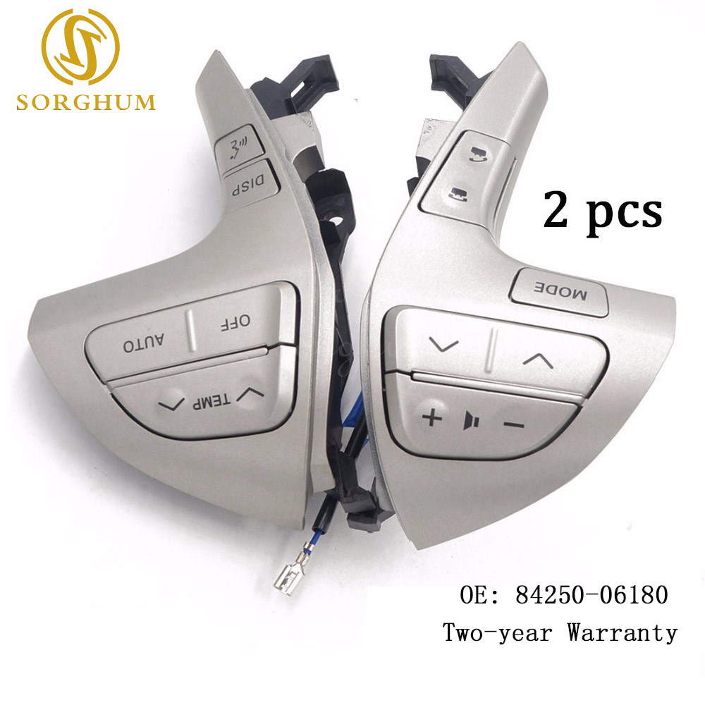 2PCS 84250-06180 Top quality Steering Wheel Audio Control Button Switch For TOYOTA HILUX/VIGO /COROLLA/CAMRY /HIGHLANDER /INNOVA цена 2017