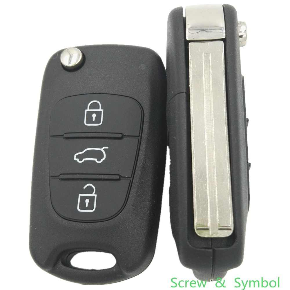 Brand New Ongesneden Blade 3 Knoppen Remote Case Fob Voor Hyundai I30 I35 Vervanging Flip Autosleutel Shell Cover met symbool