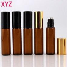 100 peças/peças 10ml 1/6oz rolo em âmbar frasco de perfume essencial óleo bola aromaterapia garrafa frete grátis