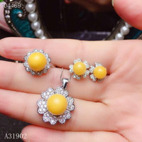 KJJEAXCMY Boutique jewelry 925 sterling silver inlaid natural beeswax amber female ring necklace pendant earrings set support de