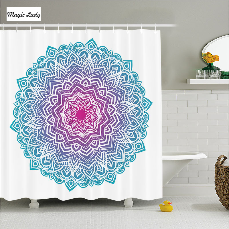 Shower curtain mandala bathroom accessories round floral for Spiritual shower