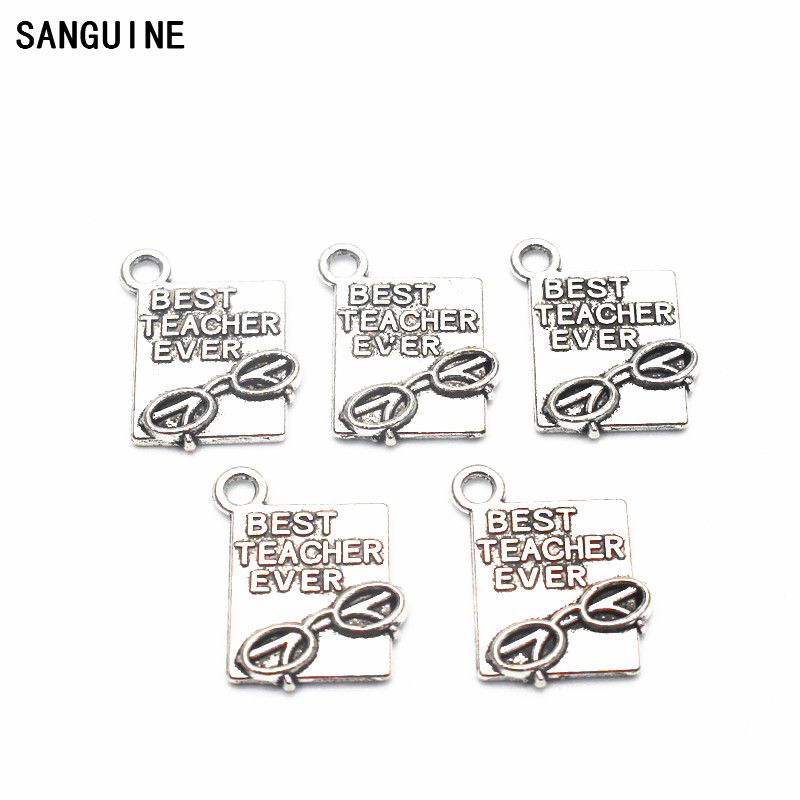 10pcs BEST TEACHER EVER Lobster Clasp Dangle Charm Jewelry Vintage Pendant Charms For Teachers Day Gift DIY Bracelet Jewelry