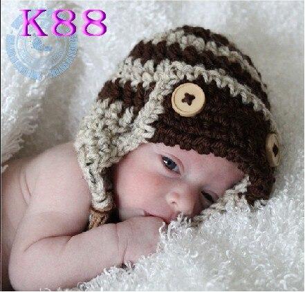 Baby Crochet Pilot Hat, Newborn Aviator Hat, , Baby Boy Hat Beanie, Babr Hat Photo Prop 100% cotton