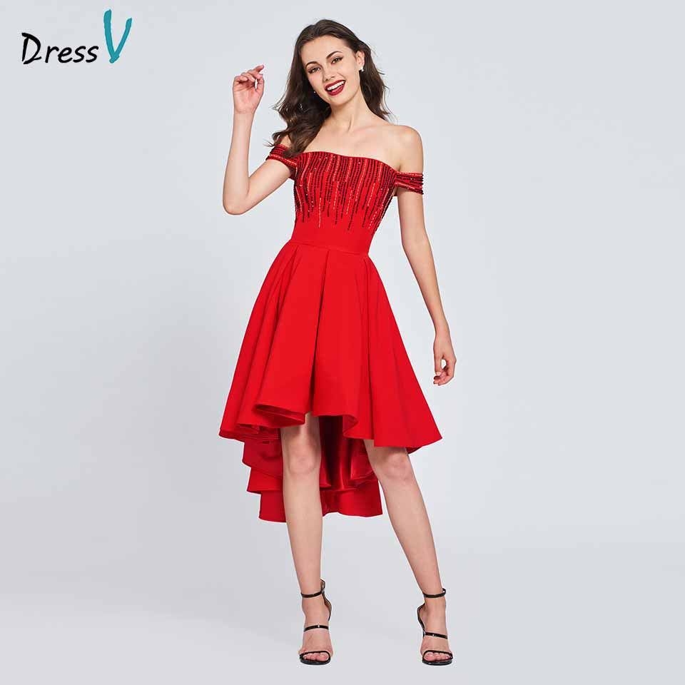 Dressv red cocktail dress off the shoulder elegant beading a line zipper up wedding party formal dress cocktail dresses
