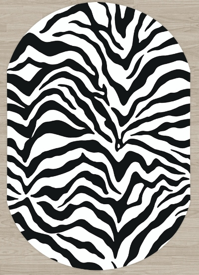 Else Black White Zebra Fur Animals Design 3d Pattern Print Non Slip Microfiber Living Room Modern Oval Washable Area Rug Carpet