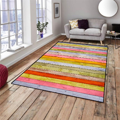 Else Pink Yellow Green Watercolor Wood 3d Pattern Print Non Slip Microfiber Living Room Decorative Modern Washable Area Rug Mat