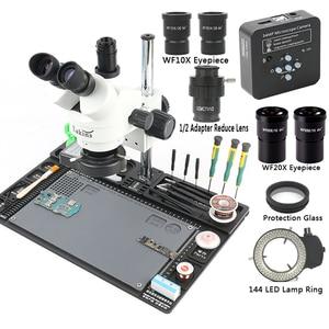Image 2 - 3.5 90X microscopio Stereo trinoculare con Zoom continuo simul focale 34MP 2K HDMI microscopio telecamera 1/2 CTV adattatore grande banco da lavoro