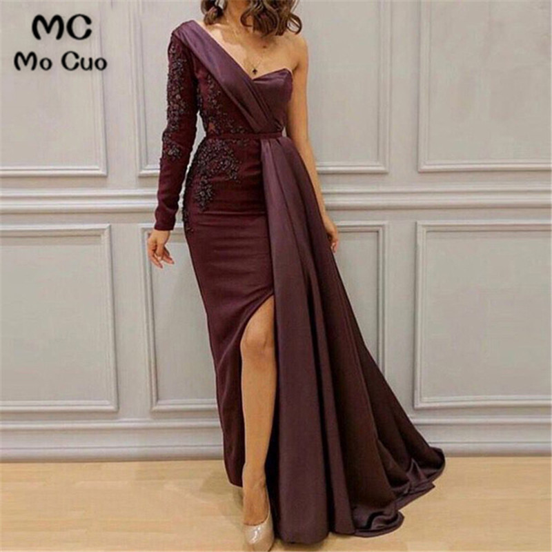 2019 One Shoulder Evening Dresses with Appliques Floor Length Front Slit Women Prom Dresses Prom Party