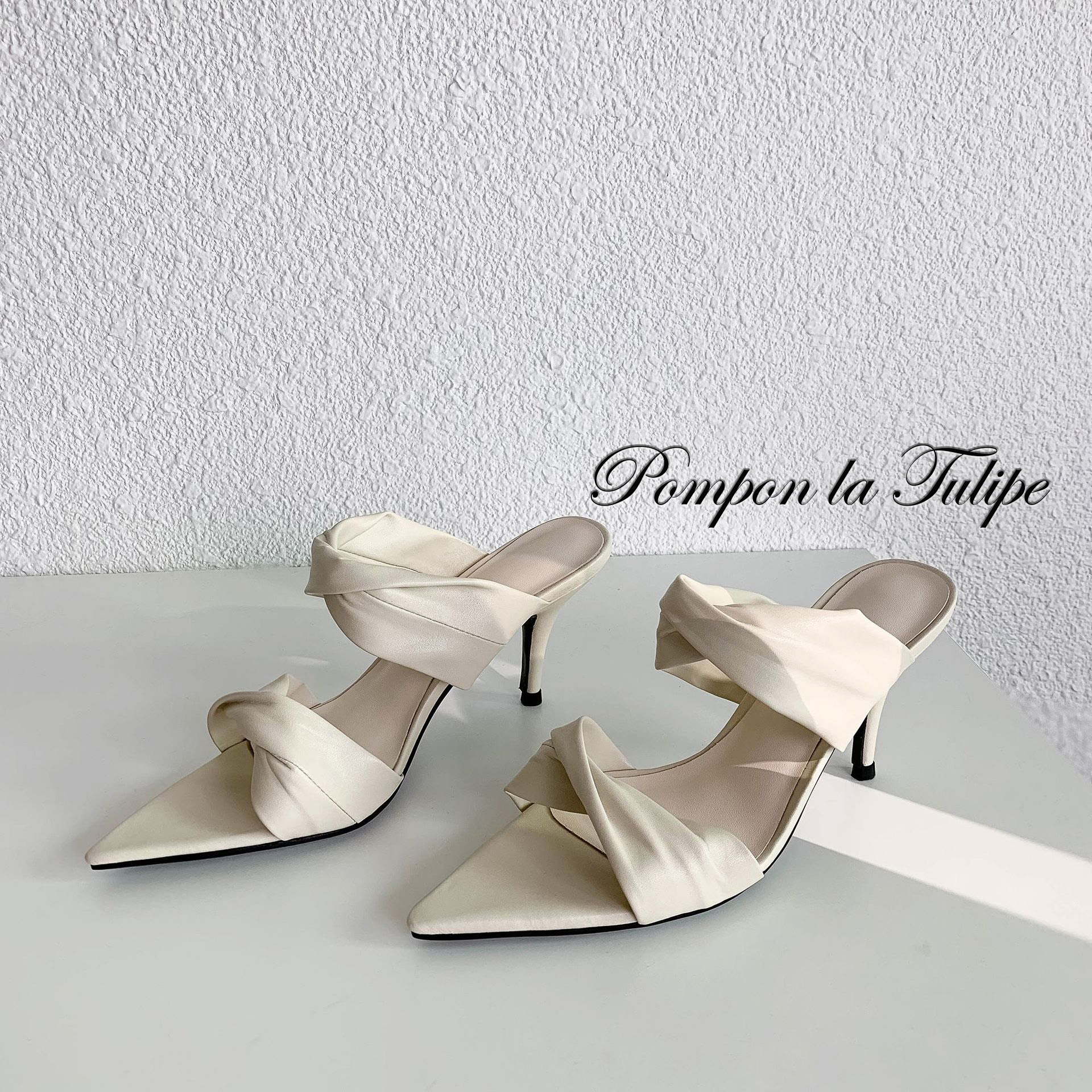 BHS 901182 Chic Pointed Toe 8CM Stilettos Mules Slipper Genuine Leather Sandals Sheepskin Fashion Women Shoes Party Wedding in High Heels from Shoes