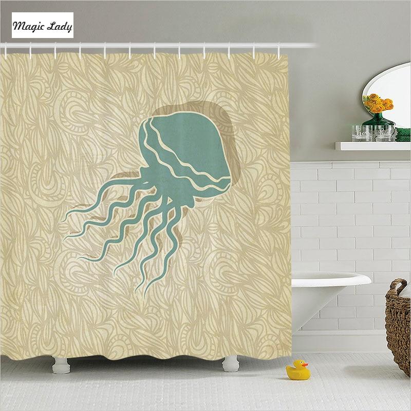 Shower curtain brown bathroom accessories jellyfish for Green and brown bathroom accessories