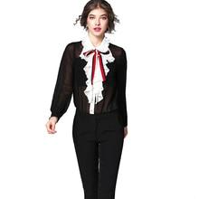 Classic Design Women Summer Fashion Plus Size XXXL Ruffles Shirts Bow Collar Casual Chiffon Blouse Black Tops