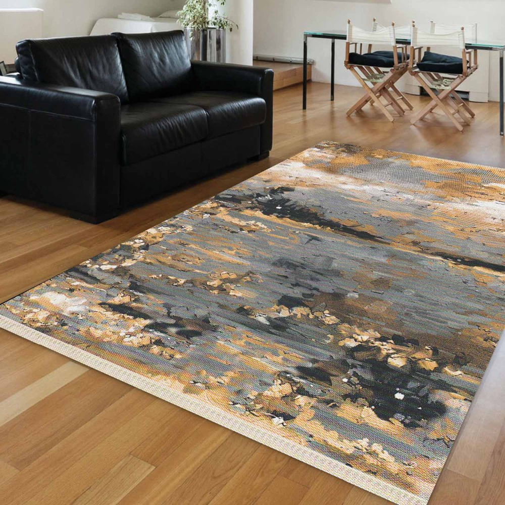 Else Yellow Gray Watercolor Vintage Abstract 3D Anti Slip Washable Decorative Boho Bedroom Floor Rug Bohemian Living Room Carpet