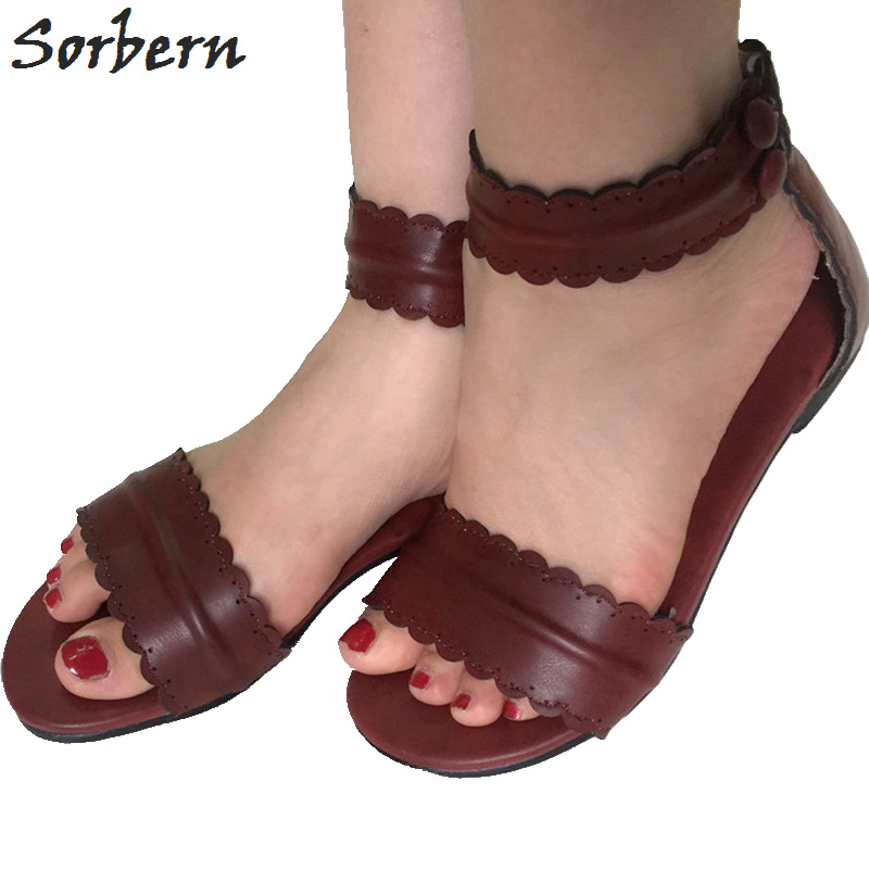 Sorbern Brown Red Flat Women Sandals Rome Shoes Ladies Flat Heels Womens Branded Shoes Runway Flat Sandals Ankle Straps Back Zip цена и фото