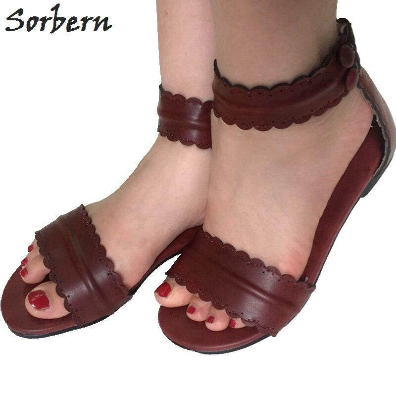 custom Talons Marron Chaussures Rouge Retour Brun Marque Plat Sorbern Bretelles Zip Piste Plats Rome De Dames Sandales Color Femmes Cheville Uqx18wp