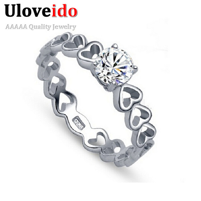 Uloveido 49% off 2016 New Silver Double Heart Rings For Women CZ Zircon Jewelry Bague Anel Feminino Bijoux Anelli Donna J391