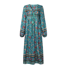 Autumn Boho Maxi Long S-5XL Women Dress BBYES Floral Print V Neck Plus Size Loose Tassels Lace up Beach Casual Party Vestidos