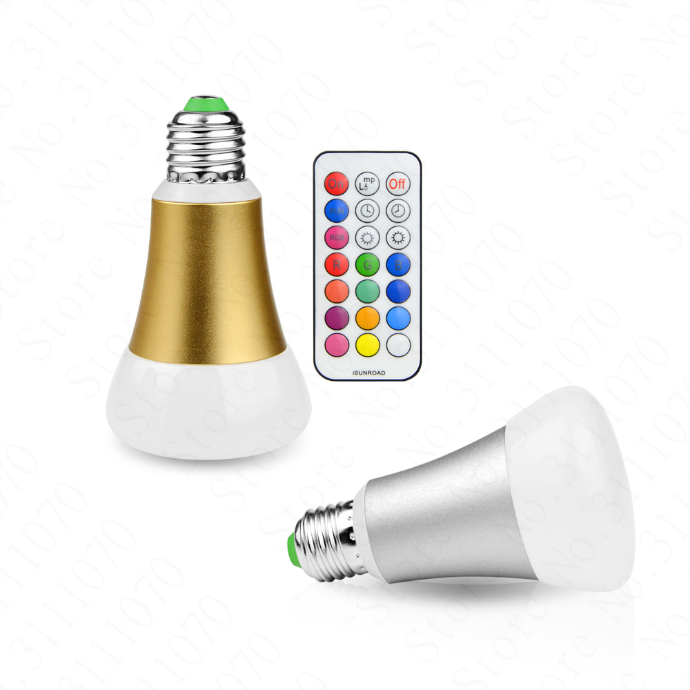 Super bright 10W RGB E27 LED Bulb Light Stage Lamp 12 Colors with Remote Control Led Lights for Home AC 85-265V RGB + Cool White agm rgb led bulb lamp night light 3w 10w e27 luminaria dimmer 16 colors changeable 24 keys remote for home holiday decoration