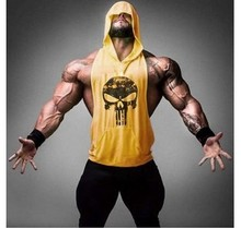 PADEGAO mens hoodie t shirt sleeveless Loose Casual Skull printed vest Golds Bodybuilding Stringer Tank men