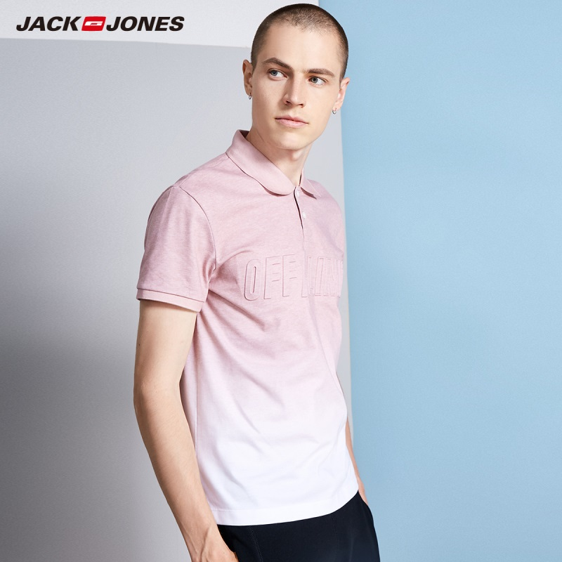JackJones Men's Cotton 3D Gradient Letters Turn-down Collar Short-sleeved Polo Shirt Top wear C|218206501