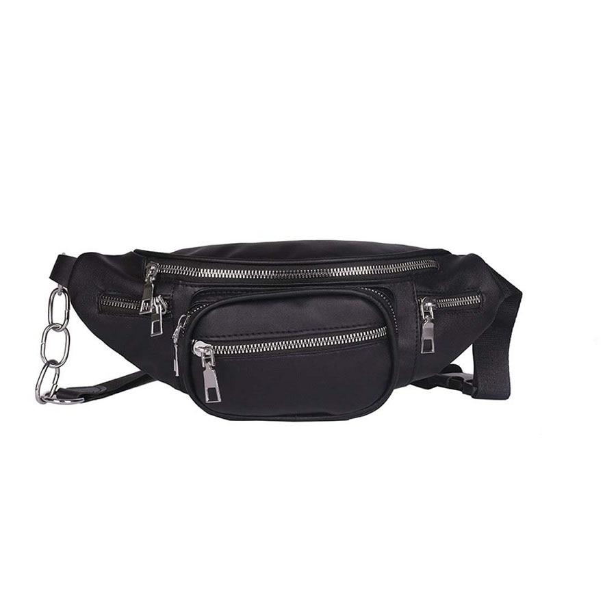 New Chain Belt Bag Hip Hop Women's Waist Bag PU Leather Solid Color Fashion Chest Bag Purse