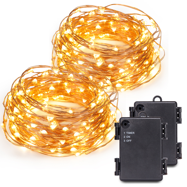 kohree 120 micro led battery powered string light with timer 40ft