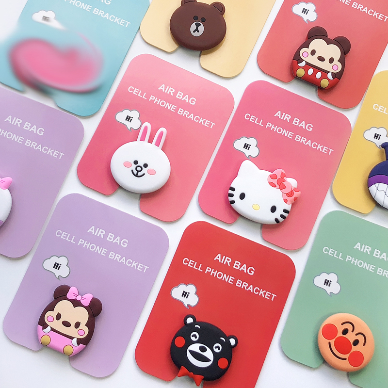 1000pcs Universal Portable Air bag cell phone bracket Cute Stitch pooh lovly stand and Finger Holder for phone pad
