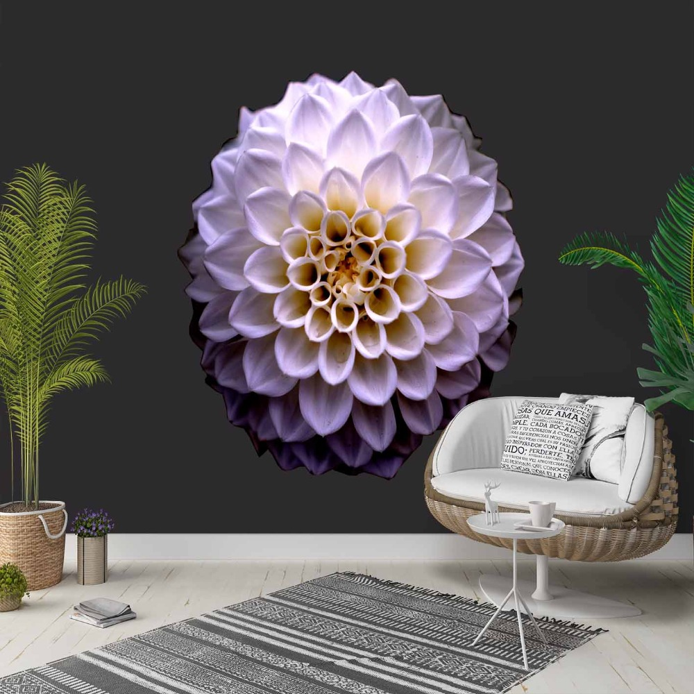 Else Black Floor On Purple Yellow Flowers 3d Photo Cleanable Fabric Mural Home Decor Living Room Bedroom Background Wallpaper