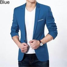 Модные Для мужчин Slim Fit формальный одна кнопка костюм Бизнес Блейзер Пальто Куртка Топы корректирующие