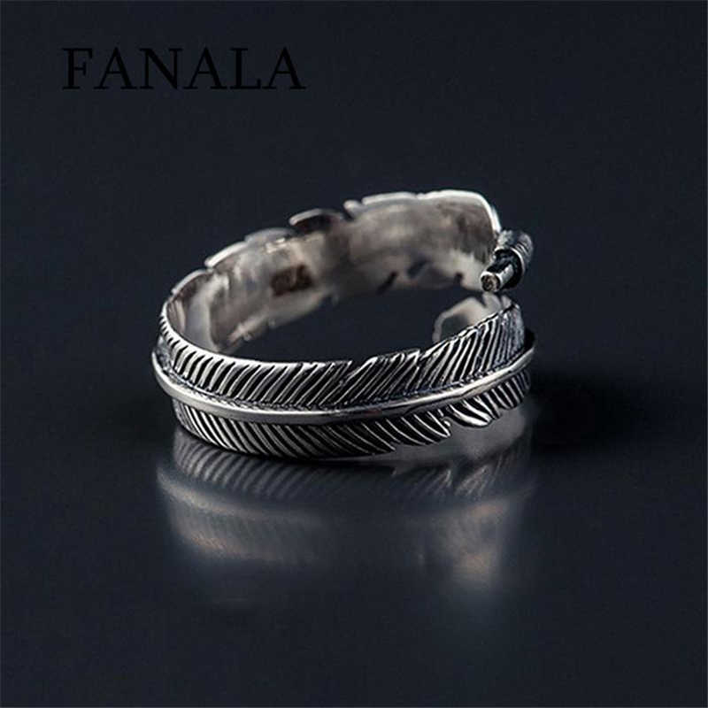 FANALA Unisex Rings Fashion Casual Carved Leaves Shape Open Female Ring Jewelry Charm Wedding Ring Silver rings for women anillo