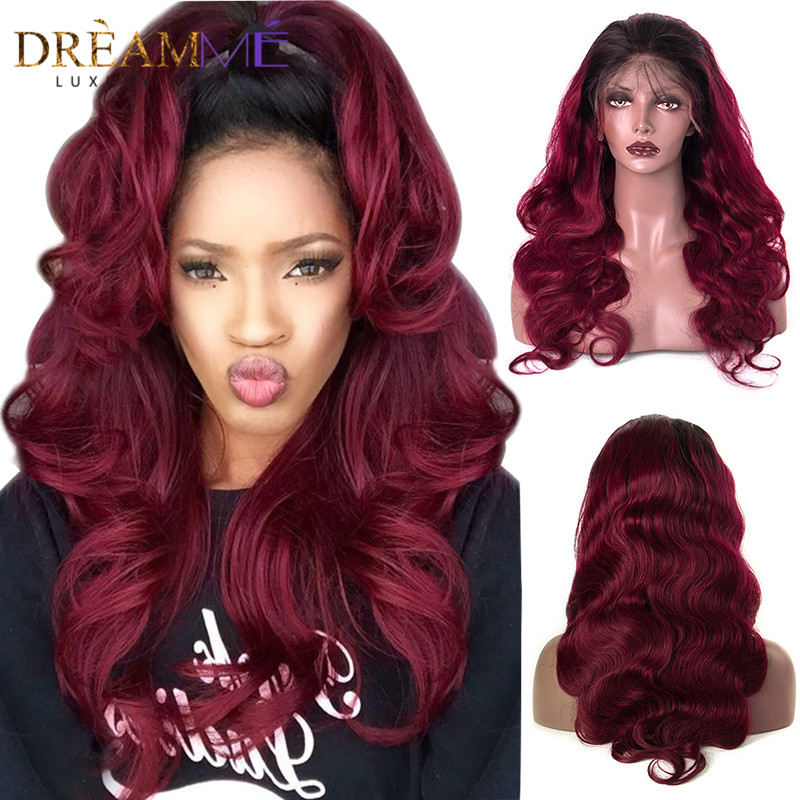 1b 99J 13x4 Brazilian Body Wave Lace Front Human Hair Wigs Pre Plucked Lace Front Wig