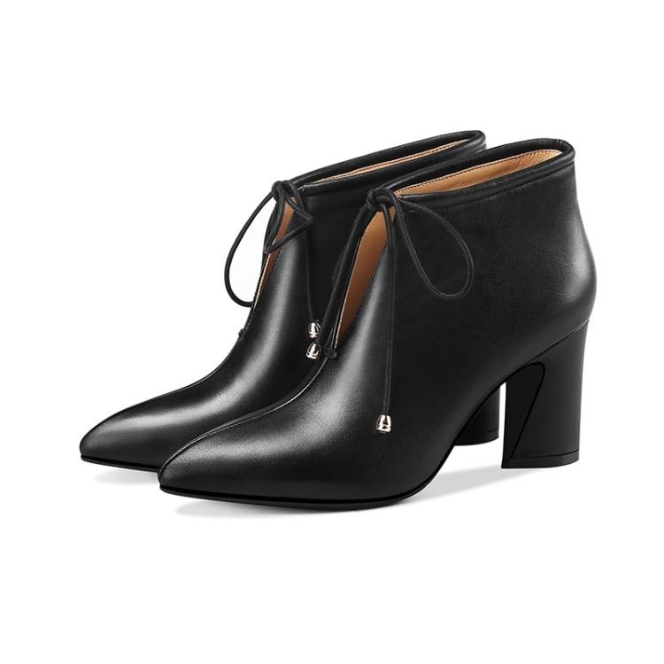 MLJUESE 2019 botas de tobillo para mujer botas de cuero de vaca cremalleras de color negro costura de encaje de invierno corto de felpa tacones altos botas de mujer size42-in Botas hasta el tobillo from zapatos    2