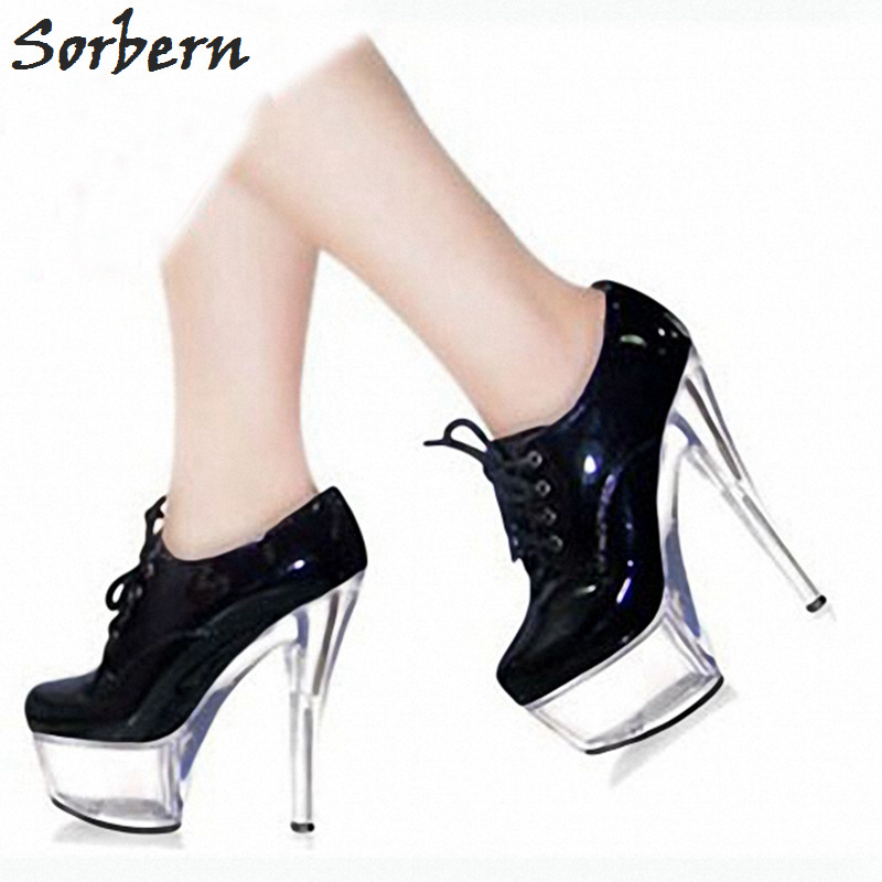 Sorbern Black Lace Up Shoes Spike High Heels Goth Platform Heels Platform Heels Black And White Pumps Trendy Heels Club Footwear trendy women s pumps with pure colour and lace up design