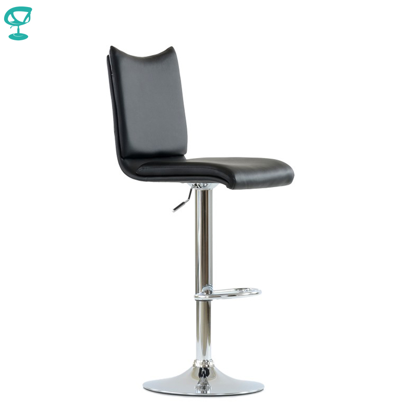 N99CrPuBlack Barneo N-99 Eco-Leather Kitchen Breakfast Bar Stool Swivel Bar Chair Black Color Chrome Leg Free Shipping In Russia