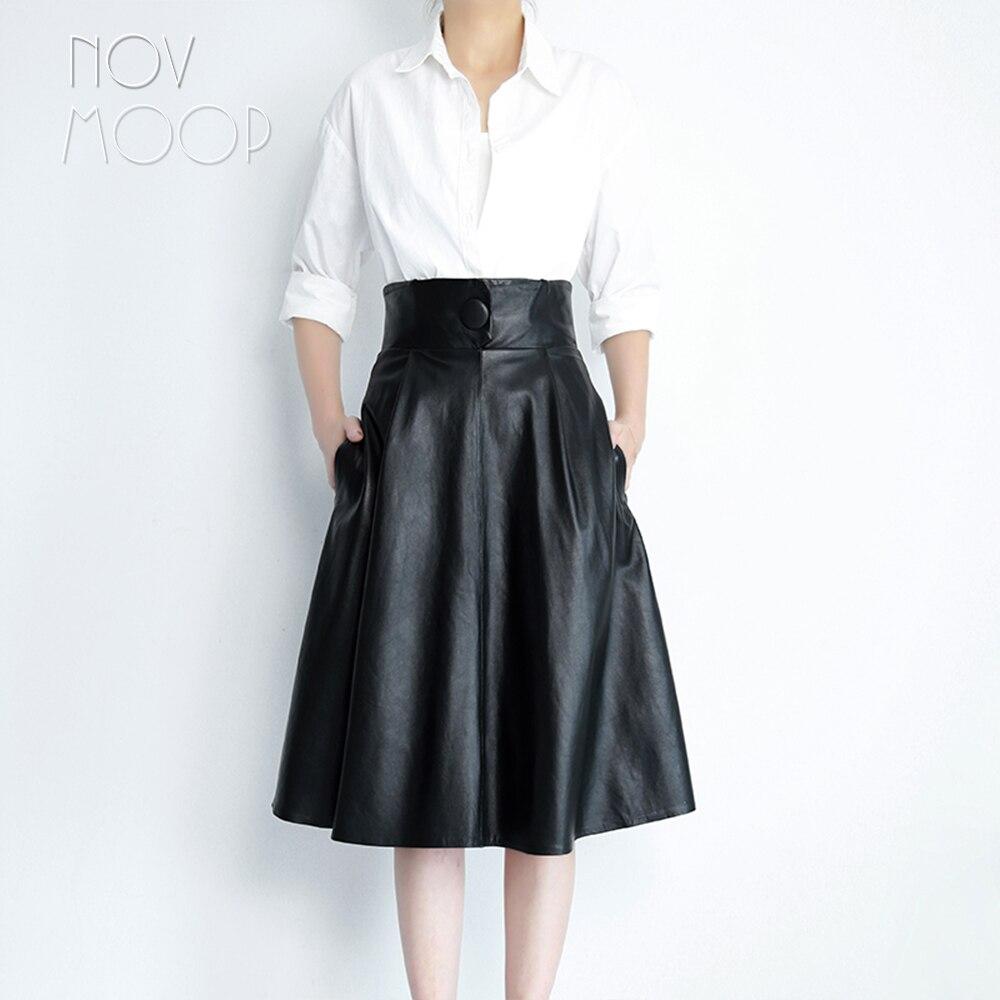 Kadın Giyim'ten Etekler'de Pist eski stil kahverengi siyah hakiki deri gerçek kuzu derisi bir düğme yüksek bel A Line etek faldas mujer etek jupe LT2428'da  Grup 3