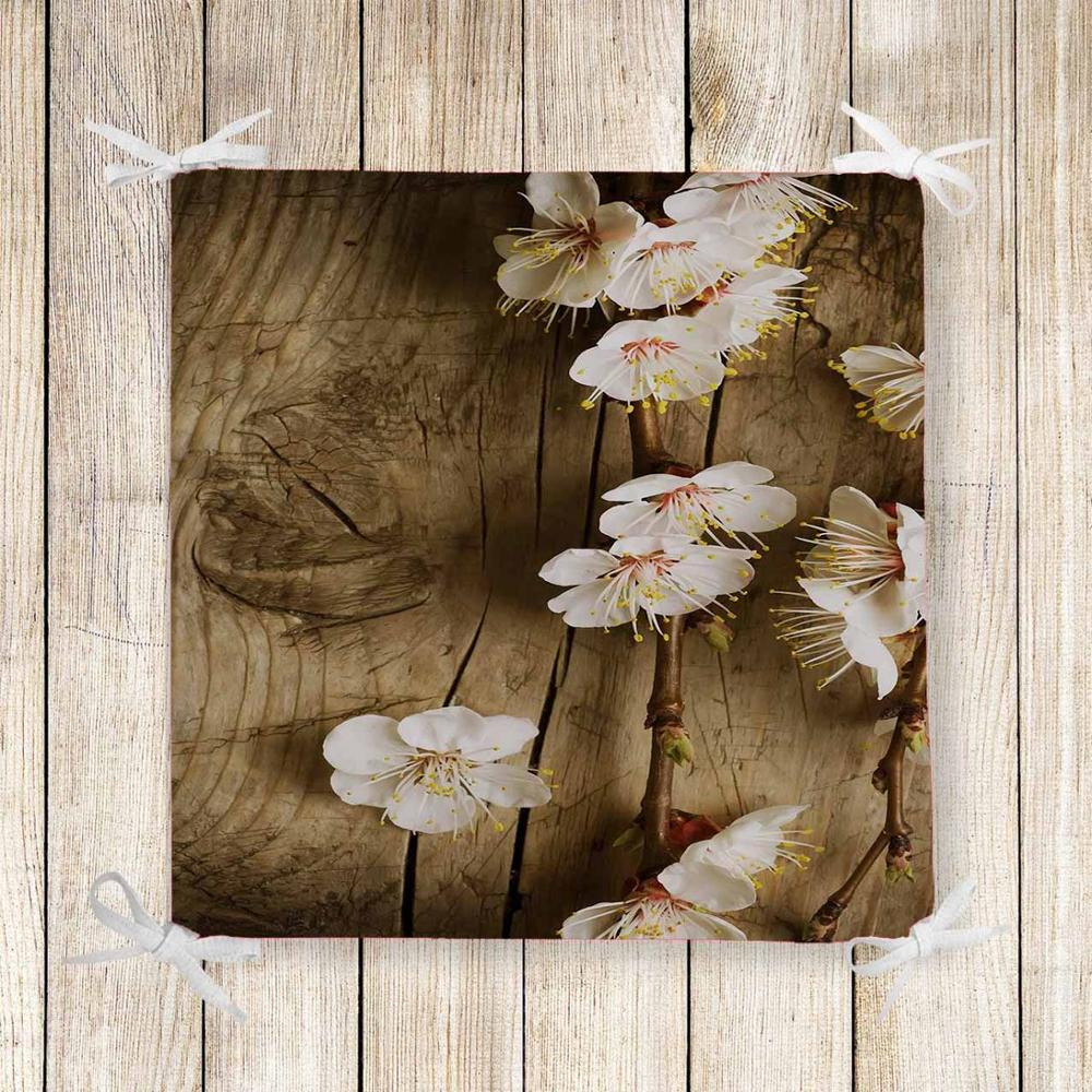 Else Brown Tree Wood On White Flowers 3d Print Chair Pad Seat Cushion Soft Memory Foam Full Lenght Ties Non Slip Washable Zipper