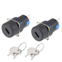 UXCELL 2Pcs Switches 16mm 2 Positions Key Locking Push Button Switch W Keys DPST To Control Electromagnetic Starter Contactor